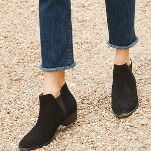 Black Genuine Suede Twin Gore Chelsea Ankle Boots